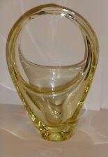 Murano Style Yellow Art Glass Basket