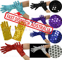 Fancy Dress Costume 70s 80s Party Dance Disco Metallic Sequin Stretch Gloves