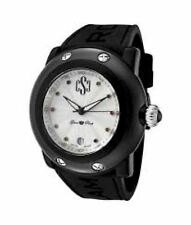 NEW Glam Rock GRD60003-NCR Womens Miami Beach Silver Textured Dial Blk Silicone