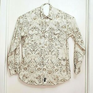 Rough Stock Western Shirt Men's Medium Off White and Tan Pearl Snaps Paisley