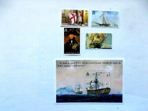 GIBRALTAR: 2005 MINT COMMEMS Trafalgar Bicenty 4stamps/sheet U/M Sg1120/MS1124