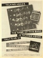 """10/4/82PGN20 ALBUM ADVERT 15X11"""" TALKING HEADS : THE NAME OF THIS BAND IS"""