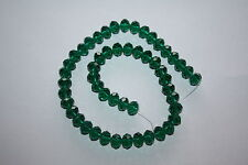 50 x EMERALD GREEN FACETED CUT GLASS CRYSTAL RONDELLE BEADS 10mm x 8mm