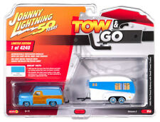 Johnny Lightning Tow & Go 1:64 1955 Ford Panel Delivery w Travel Trailer VER A