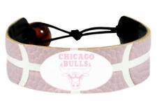 Chicago Bulls Logo NBA Basketball Leather Pink Bracelet