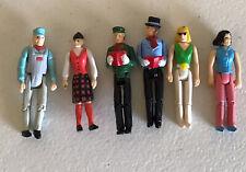 "Small 2"" Figures People Plastic Jointed Carolers Train Engineer Scotsman Women"