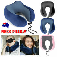 Portable Inflatable U Shaped Travel Neck Pillow Car Flight Head Rest Cushion