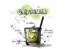 Impresión arte cartel Pintura Dibujo alcohol cóctel receta Caipirinha lfmp0929