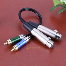 3pin 2 XLR Female to 2 RCA Male PC Audio Stereo Adapter Spliter Extension Cable