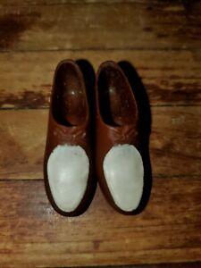 Vintage Brown & White Plastic Shoe Hasbro Barbie KEN DOLL1960's & 70's ACCESSORY