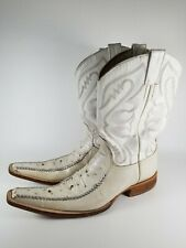 GIANMARCO LORENZI Size 37 US 7 Pointed Toe White Ostrich Leather Boots