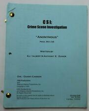 """CSI: CRIME SCENE INVESTIGATION / Anthony E. Zuiker, 2000 TV Script """"Anonymous"""""""
