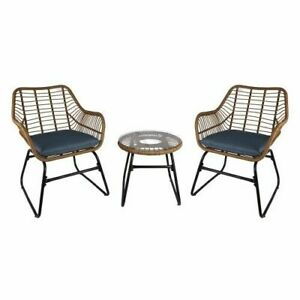 3PC Rattan Style Twin Chair Outdoor Patio Home Wicker Bistro Coffee Table Set