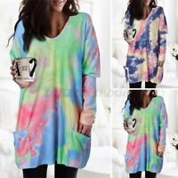 UK Womens Pullover Shirts Tie Dye Long Sleeve Ladies Baggy Tee Blouse Tunic Tops