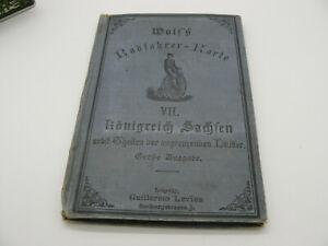 WOLFS RADFAHRER-KARTE VII KÖNIGREICH SACHSEN GROSSE AUSGABE UM 1900