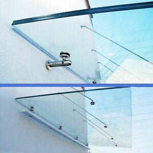 Glasvordach Edelstahl 200   250  300 cm Türvordach Haustür VSG 17,5mm klar Glas