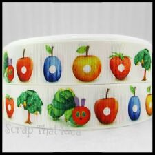 "HUNGRY CATERPILLAR Ribbon. 1"" Grosgrain. Scrapbooking/Craft/Bows. Grub/Lrg Fruit"