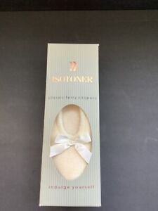 ISOTONER Terry Ballerina Slippers with Bow &  Rubber Outsole New in Box 6.5-7.5