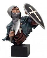 Busto di Cavaliere Medievale con Ascia e Scudo 15 cm