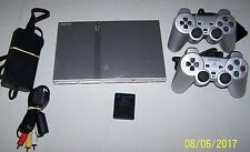 Sony PS2 PlayStation 2 Slim Satin Silver Console, 2 Silver Controllers, Memory