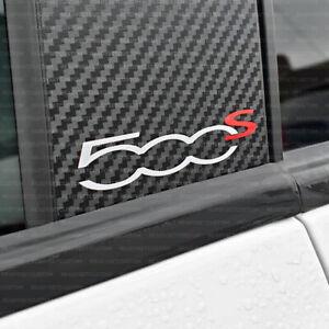 Pair of Fiat 500s Door Pillar Decals / Stickers - White & Red - 500 Sport