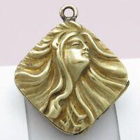 Vtg Antique Art Nouveau Lady Repousse Gold Filled GF Locket Pendant