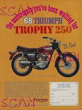 1968 Triumph Motorcycle Ad Trophy 250 Vintage Magazine Advertisement 250cc 68