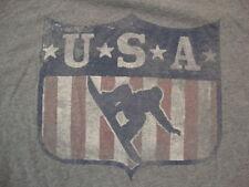 USA Snowboarding Sportswear Fan Apparel Distressed Gray Cotton T Shirt Size XL