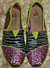 Girls Sz 4.5 M Skechers Bobs World Iii Bling Sparkle Safari Slip Flat Multi-Col