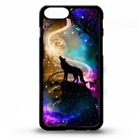 Wolf howling at the full moon wolves star forest silhouette art phone case cover