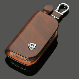 PU Leather Car logos Keyring Key chain Bag Ring Case Bag Fit For VOLVO