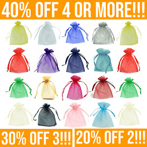 25/50 Organza Bags - Wedding Favours, Small Gift, Confetti - Drawstring Mesh Bag