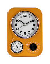 Vintage Diner Style Retro Orange Wall Clock Thermometer & Timer 33x24x8cm