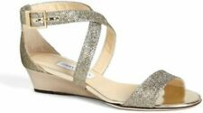 Jimmy Choo CHIARA Gold Glitter Sparkle Wedge Sandals Size 39.5 or  9 new
