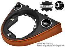 BLACK & ORANGE MANUAL GEAR SURROUND REAL LEATHER COVER FOR FIAT 500 2016-2019