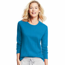 Hanes Women's 100 Cotton Long Sleeve Comfortable Crewneck T Shirt. O9133 Deep Dive L