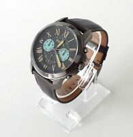 Fossil Herren Uhr Grant Chronograph grau Leder römisch FS5183