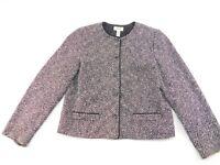 Talbots Womens Black White Wool Blend Lined Button Front Blazer Jacket 12