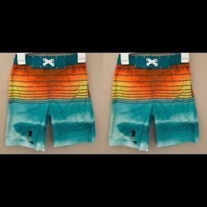 2 EXTRA LARGE XL 16 Cat & Jack Swim Trunks Surfer Teal Orange NWOT