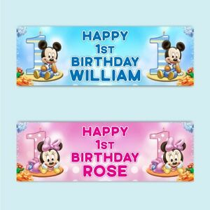 2 Personalised 1st Birthday Mickey Or Minnie Banners Party Celebration Posters