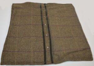 RALPH LAUREN Adriana Brown Tweed Wool DECORATIVE PILLOW COVER With Rhinestone Bu