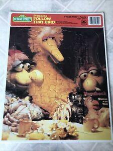 Vintage 1985 Sesame Street Big Bird Follow That Bird Frame Tray Board Puzzle