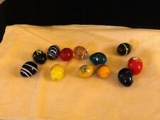 "12 Pretty Glass Easter Eggs Size 1 1/4"" Long Mixture Of Different Colors"
