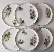 6 x Antique Edwardian Art Nouveau hand painted porcelain floral design plates