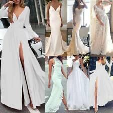 Weiß Lang Kleider Damen Maxikleid Abend Partykleid Cocktailkleid Hochzeitskleid