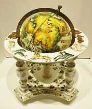 Rare Large Meiselman/Bassano Italian Majolica World Globe on Stand circa 1960s