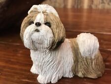 "Sandicast Mid Size Shih Tzu Sculpture in Gold / White 3.5""X4"""