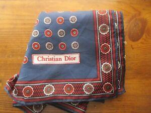 CHRISTIAN DIOR dark blue silk pocket square w red & gray circular print