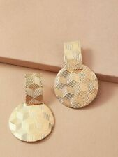 Textured Gold Round Drop Earrings