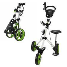 Caddymatic Golf X-TREME 3 Wheel Push/Pull Golf Trolley with Seat White/Green